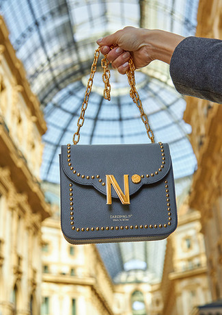 Cardinalno First Date Chaplet embellished grey caviar leather bag gallery milano social media sharecampaign