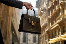 cardinalno First Lady croc effect black leather shoulder bag social media sharecampaign