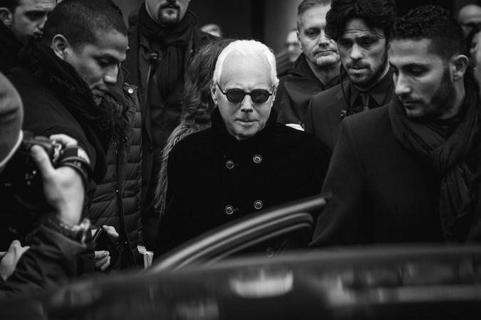 Giorgio Armani portrait 2016 streetstyle Milan Fashion Week