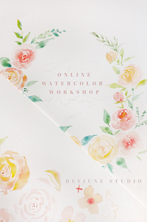 |網 上 水 彩 花圈工 作 坊| Online Watercolor Floral Wreath Workshop