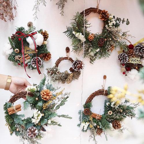 Christmas wreath ( with fresh n dried flower)