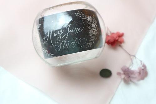 ENGRAVING ON GLASS BOTTLE