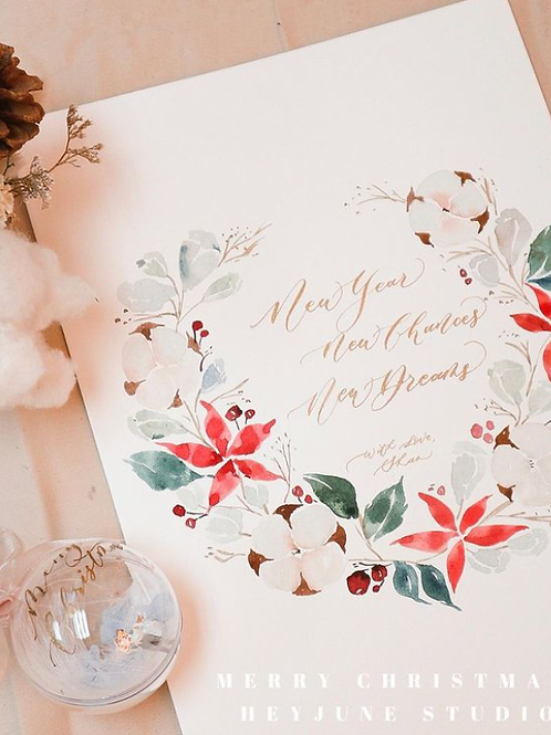 Watercolor Floral Wreath With Gold Calligraphy水彩花草金色英文書法工作坊
