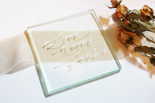 Glass Place Card with Calligraphy