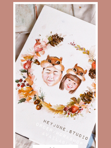 Watercolor Floral Wreath with Protrait