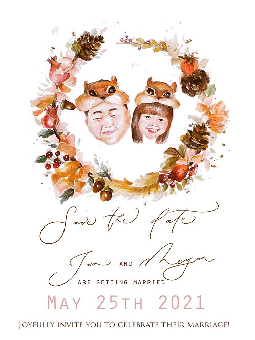 Custom Illustrated Couple Portrait Wedding Card