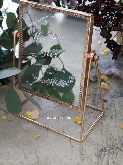 Wedding mirror welcome board