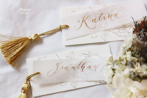 Gold Foiled Bookmark with Calligraphy