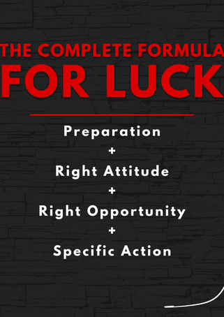 Mikey Lucas formula for luck graphic