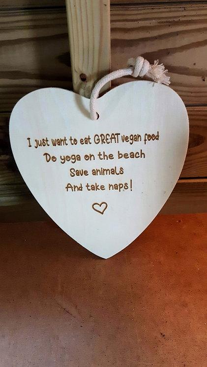 """Hanging Plaque- """"Eat Great Vegan Food"""""""
