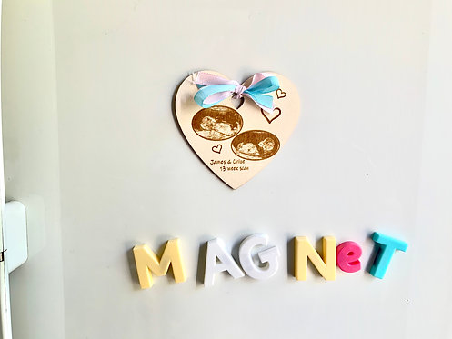Wooden Baby Ultrasound Magnet Boxed Gift/ Keepsake