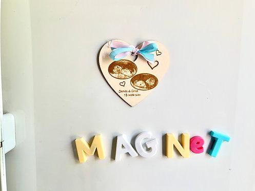 Wooden Baby Ultrasound Magnet Boxed Gift/ Keepsake