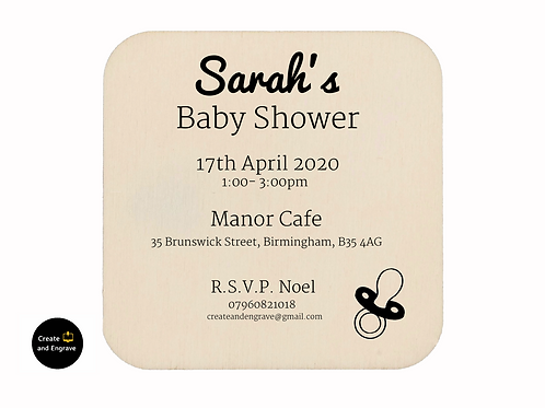 6 x Personalised Baby Shower Wooden Invitations (magnet or coaster option)