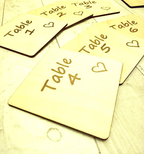 Table Numbers x 12 -Personalisable