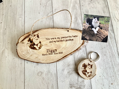 Pet Memorial Plaque and Keyring Set