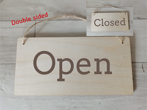 Open Closed Double Sided Wooden Sign