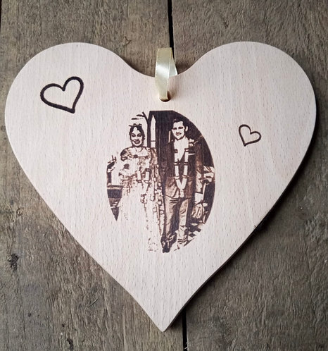 25cm Solid Wood Heart Photo Engraving