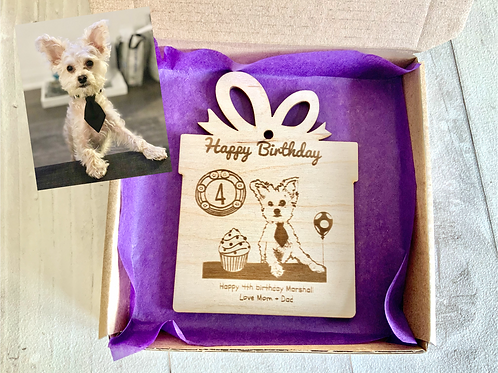Dog Birthday Card- Wooden, Personalised, Magnetic
