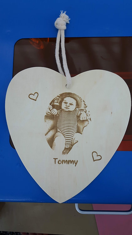 Personalised Wooden Baby Photo Plaque
