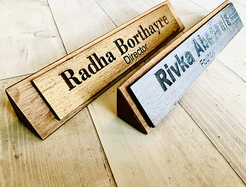 Personalised Solid Oak Desk Name Plate