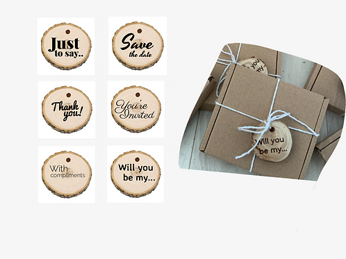 6 x Wooden Gift tags- Various Design Options