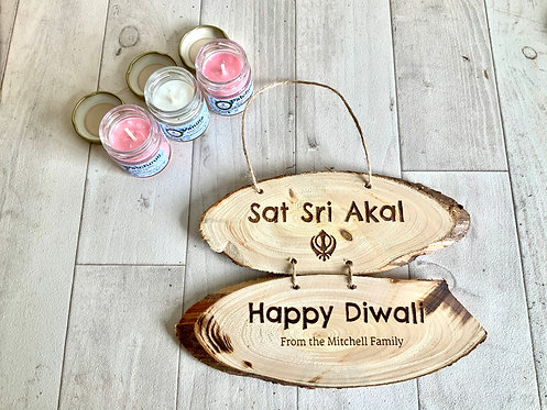 Sikh Diwali Set: 3 Scented Candles + Personalisable Plaque