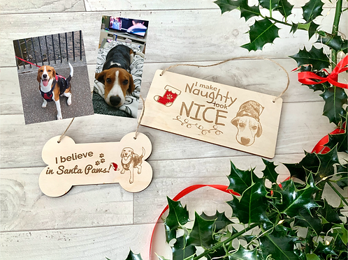 Two personalised plaques-Believe/ naughty & nice