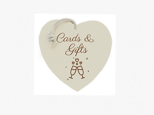"""Cards & gifts"" sign (Bubbles & Fizz collection)"