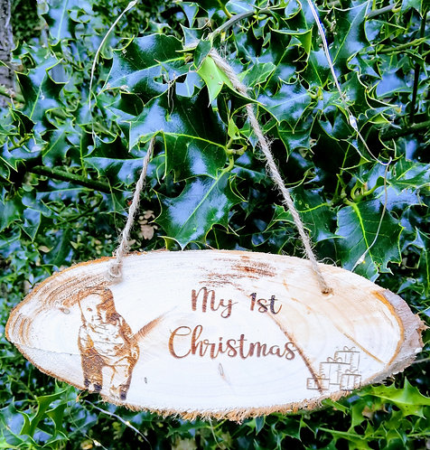 """""""My first Christmas"""" Oval Slice Decoration"""