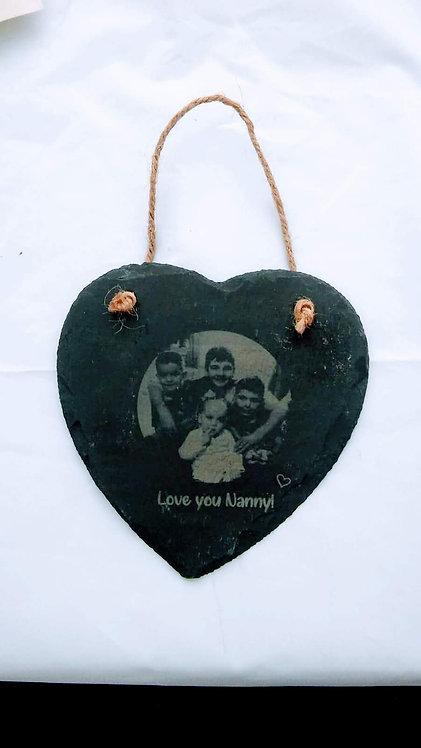 Heart Slate Photo Plaque