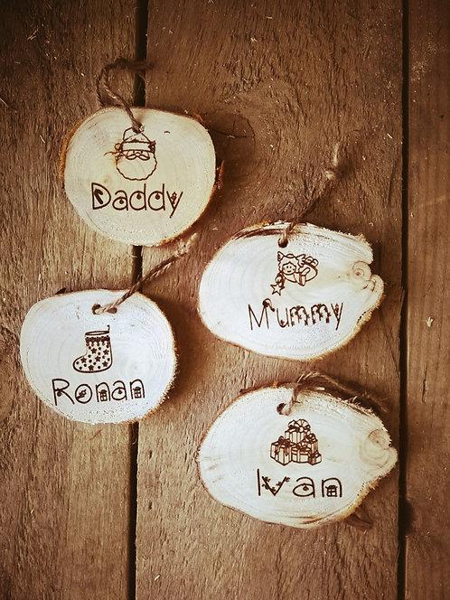 Family Christmas Tree Decoration- Set of 4