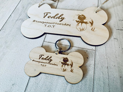 Tongue out Tuesday plaque and tag set