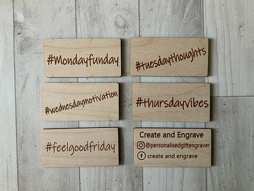 6 Double Sided Social Media Hashtags- personalisable