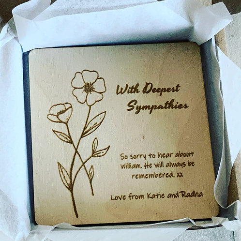 Sympathy Card-Wooden and Personalised