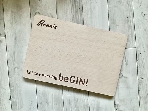 """Personalised Gin Board- """"Let the evening beGIN"""""""