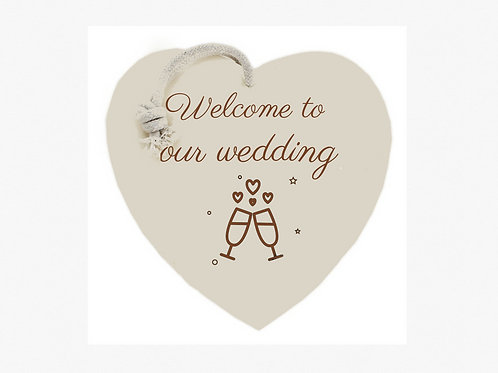 """""""Welcome to our wedding"""" sign (Bubbles & Fizz collection)"""