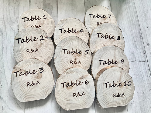 Table Numbers x 10 -Personalisable