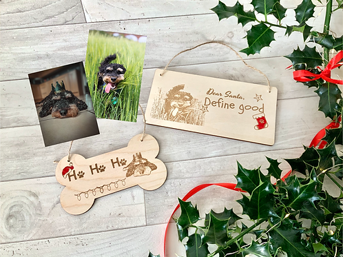 Two personalised plaques-Ho Ho Ho/ Define Good