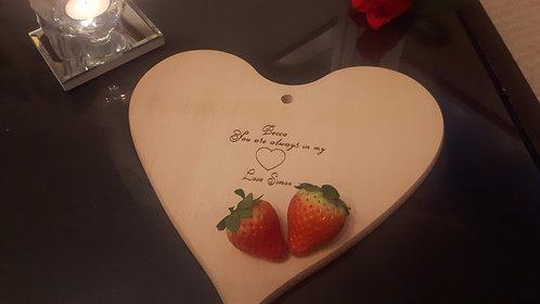 """Heart Wooden Board- """"Always in my heart"""""""