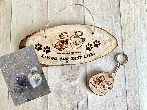"""Living my best life"" Pet Photo Plaque set- Personalised"