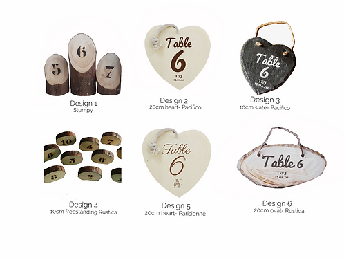 8 x Table Numbers-Various Design Options