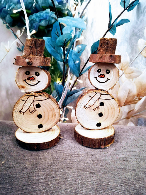 Set of 2 Wooden Freestanding Snowmen