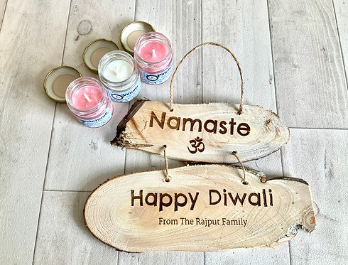 Diwali Set: 3 Scented Candles + Personalisable Plaque