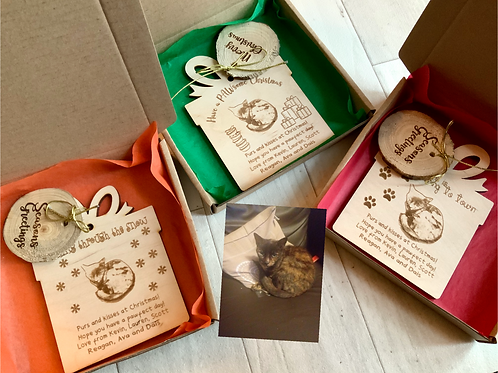 3 x Personalised Wooden Cat Xmas Cards