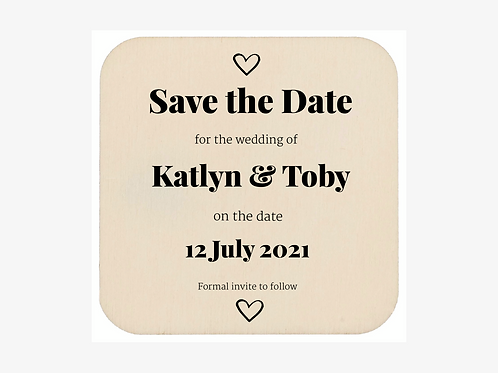 """6 x """"Save the date"""" wooden personalised coasters/ fridge magnets"""