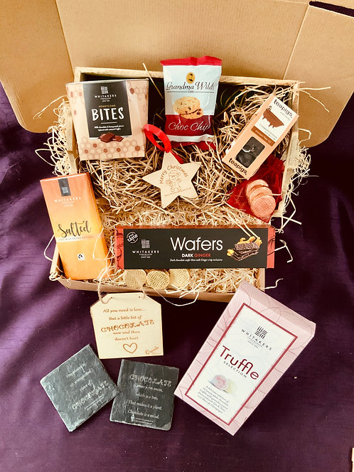 """""""Chocolate Lover's Indulgence"""" Hamper with Wooden Tray. 2 Size options"""