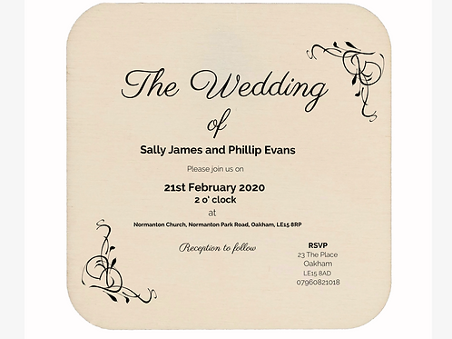 6 x Wooden Wedding Invitations 10cm