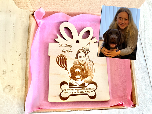Pet Parent Birthday Card- Wooden, Personalised, Magnetic