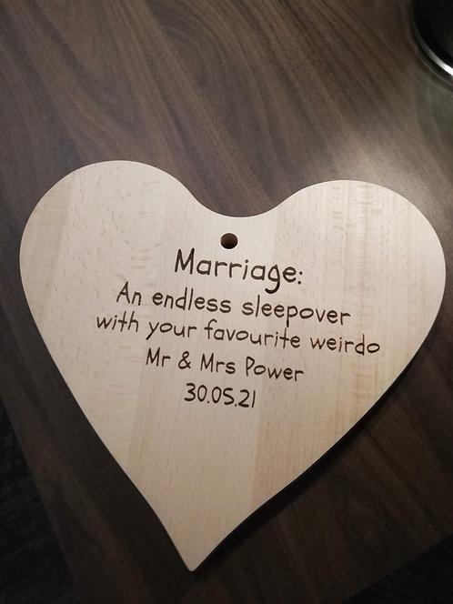 Couple's Personalised Heart Board- favourite weirdo