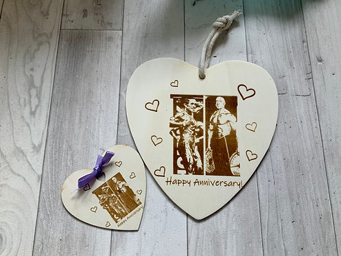 Matching Heart plaque and magnet photo gift set